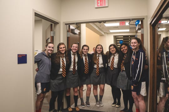 Trinity Hall students in attendance for the unveiling of the new wing for the all-girl's private school in Tinton Falls on Jan. 25, 2019.