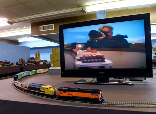 One of the railroaders mounted a small video camera and wireless transmitter on a flatbed car on one of the model railroad trains, enabling the ability to make this selfie. The Abilene Society of Model Railroaders is open twice a week for past, current and future model railroad fans to enjoy a little track time.