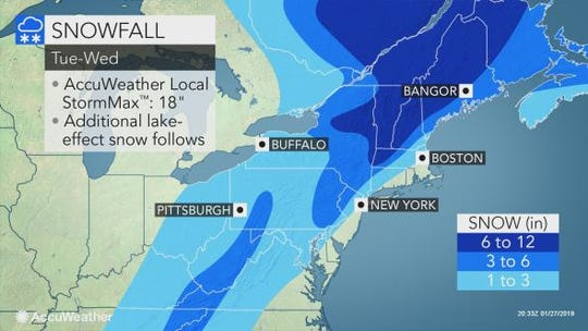 In eastern counties of the Southern Tier, several inches of snow is expected.