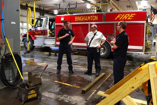 Capt. Daniel Vail, Capt. Timothy O'Neill and firefighter Chris Neville at the City of Binghamton's Fire Department headquarters on Hawley Street.