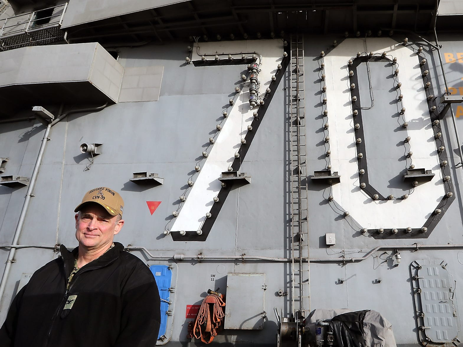 Capt. Matthew Paradise, Commanding Officer of the USS Carl Vinson aboard his ship at Naval Base Kitsap Bremerton on Monday, January 28, 2019.