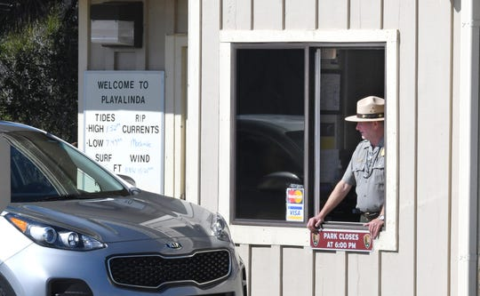 The Ranger station where motorists pay to have access to the beach area. Playalinda Beach reopened on Sunday, January 27, following the end of the government shutdown.
