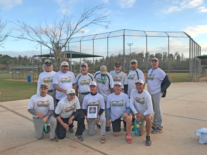 "The Slug-A-Bug 65's Senior Softball team was the runner-up at the ISSA World ""Tournament of Champions"" Men's 65 AAA Division. The team is, front row from left: Renus Knowles, Frank Straub, Joe Pavlock, Dave Carden and Matt Matson. Back row: Eric Warren, Paul Uzialko, Kerry Charlet, John Davis, Tom Balcom, Nick Nicometo and Rick Harder."