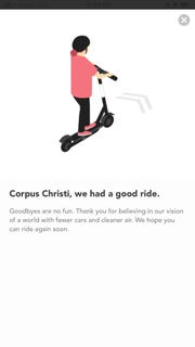 A screenshot of the Bird app shows a message from the scooter company on Jan. 28, 2019.