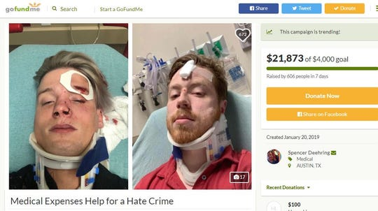 A screenshot shows a GoFundMe account for Tristan Perry and his boyfriend Spencer. Perry posted photos and wrote about his experience of a hate crime on Facebook.
