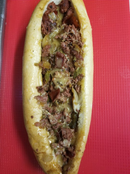 This wood-smoked cheesesteak, The Smoker, is offered by Seymour's Watch My Smoke BBQ in .Laurel Springs