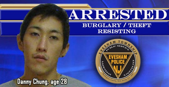 Evesham police arrested this man and charged him with various things, including attempting to steal a victim's car.