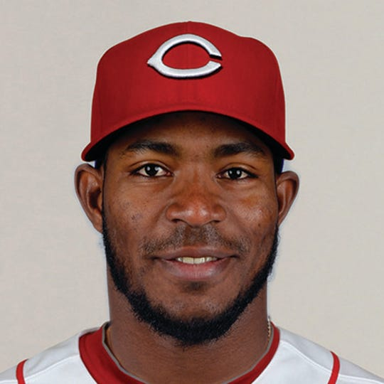 Dec 18, 2018; Cincinnati Reds outfielder Yasiel Puig poses for a photo after offseason trades.