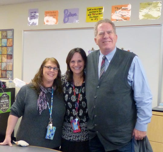 Teachers Jen Smith and Marci Rubin with Sayreville Mayor Kennedy O'Brien at the PAL Open House.