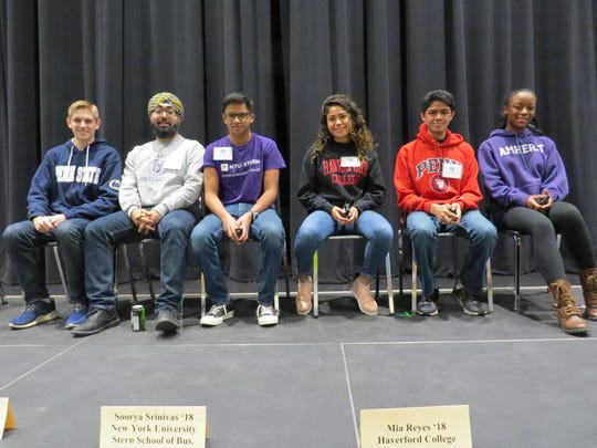 This year's panel included, from left: CJ Stueck of Scotch Plains, Penn State University Schreyer Honors College, Simu Singh of Monroe, George Washington University, Soorya Srinivas of Edison, New York University, Stern School of Business, Mia Reyes of Piscataway, Haverford College, Suraj Chandran of Edison, University of Pennsylvania and Lauren Kisare of Bridgewater, Amherst College.