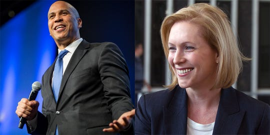 Sens. Cory Booker and Kirsten Gillibrand. Both Senators are currently looking at 2020 presidential runs.