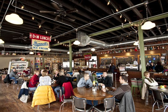 People enjoying lunch at Smokey Row. Register file photo.