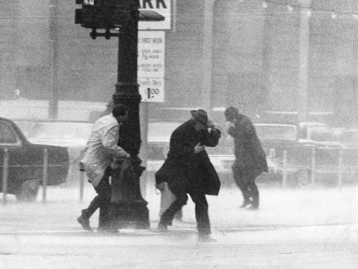 Strong winds and heavy snow buffeted Detroiters in the state's second blizzard of 1965.
