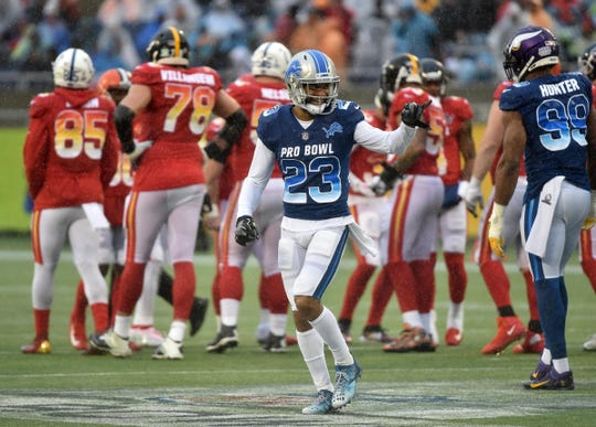 NFC cornerback Darius Slay of the Detroit Lions reacts against the AFC in the NFL Pro Bowl at Camping World Stadium, Jan. 27, 2019 in Orlando.