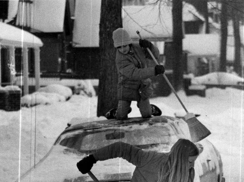 Shoveling snow in 1977.