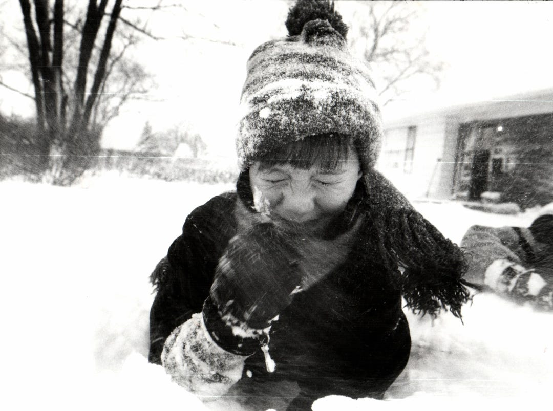 Mitchel Brown, 5, of Birmingham as the wind whips snow in his face in 1992.