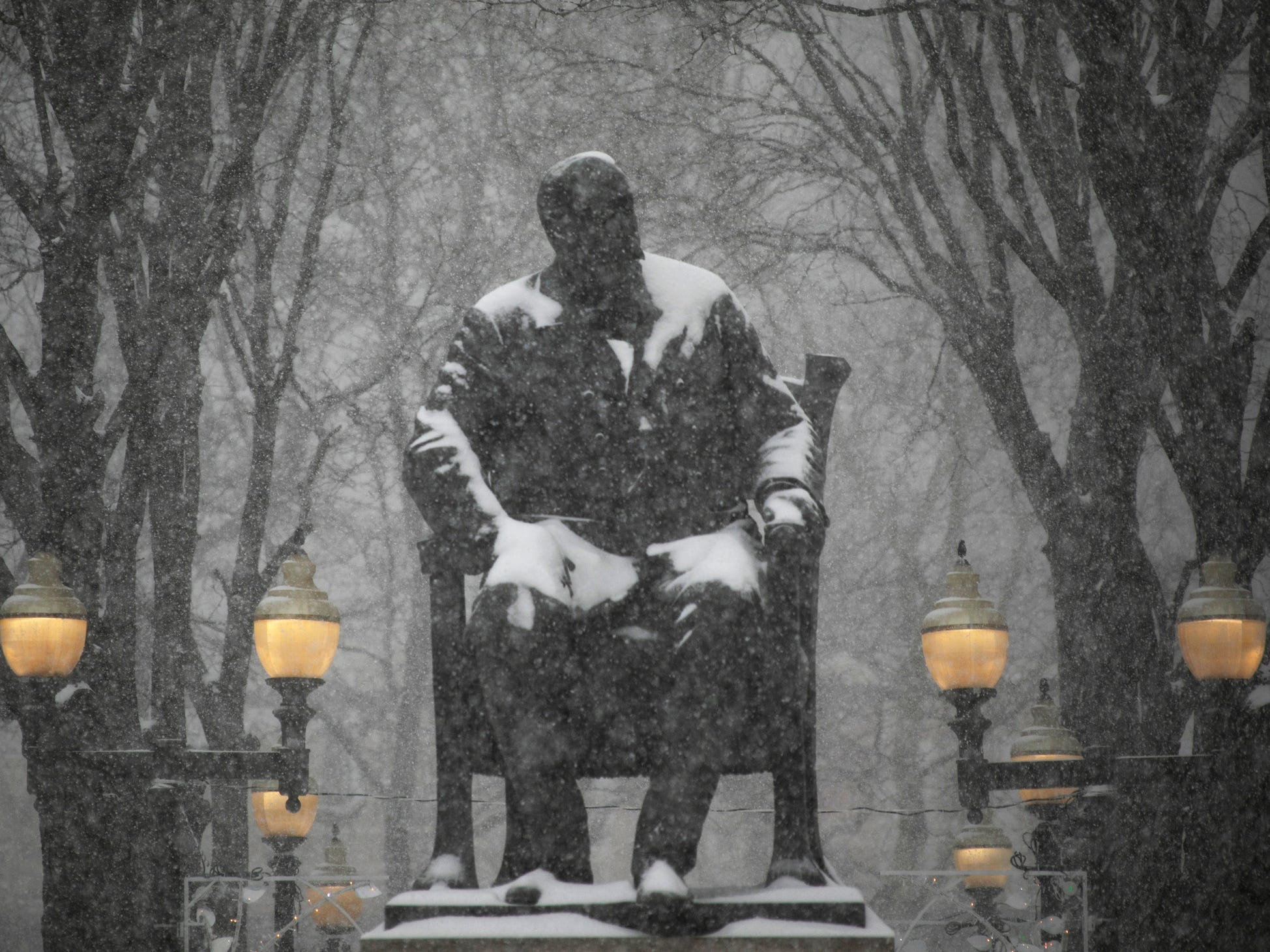 The Hazen S. Pingree statue, located at Grand Circus Park in Detroit, sits quietly as heavy snows hit metro Detroit on Monday, Jan. 28, 2019.