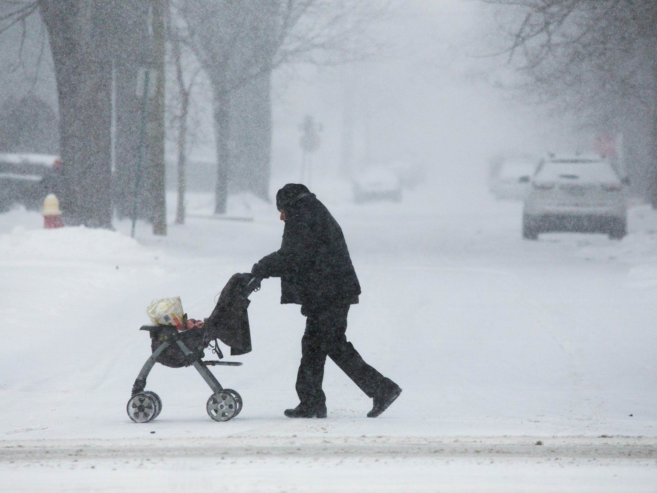 A man pushes a stroller with groceries as flurries swirl around on Woodward Ave. in Detroit on Monday, January 28, 2019.