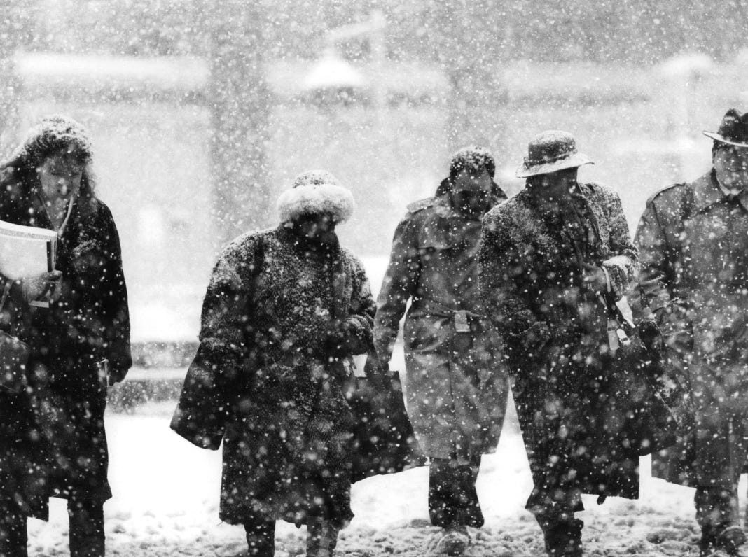 A snow storm hit metro Detroit in 1992.
