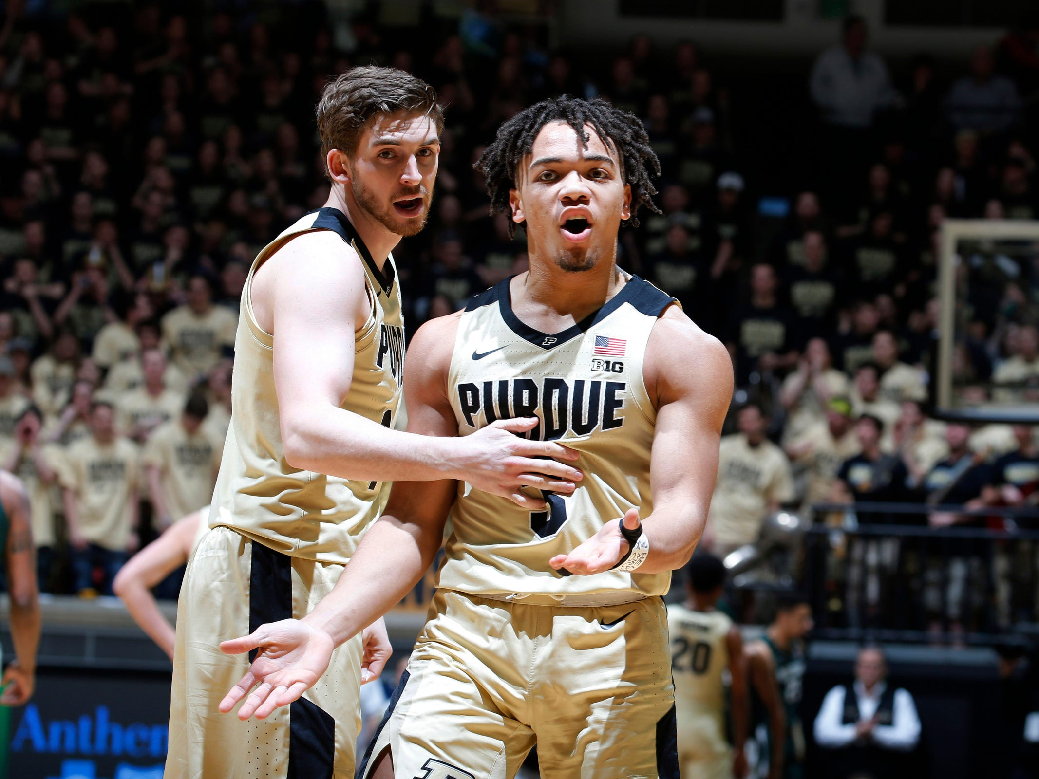 Purdue's Carsen Edwards (3) reacts to a foul not being called against Michigan State in the first half at Mackey Arena in West Lafayette, Ind. on Jan. 27, 2019.