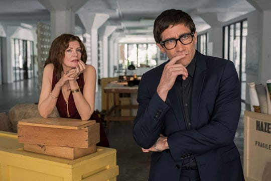 "Rene Russo and Jake Gyllenhaal in ""Velvet Buzzsaw."""