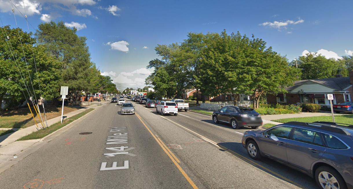 Fourteen Mile Road west of Woodward Ave. in Royal Oak.