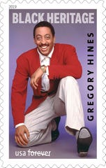A Black Heritage Series stamp with a 1988 photograph of Gregory Hines on it.