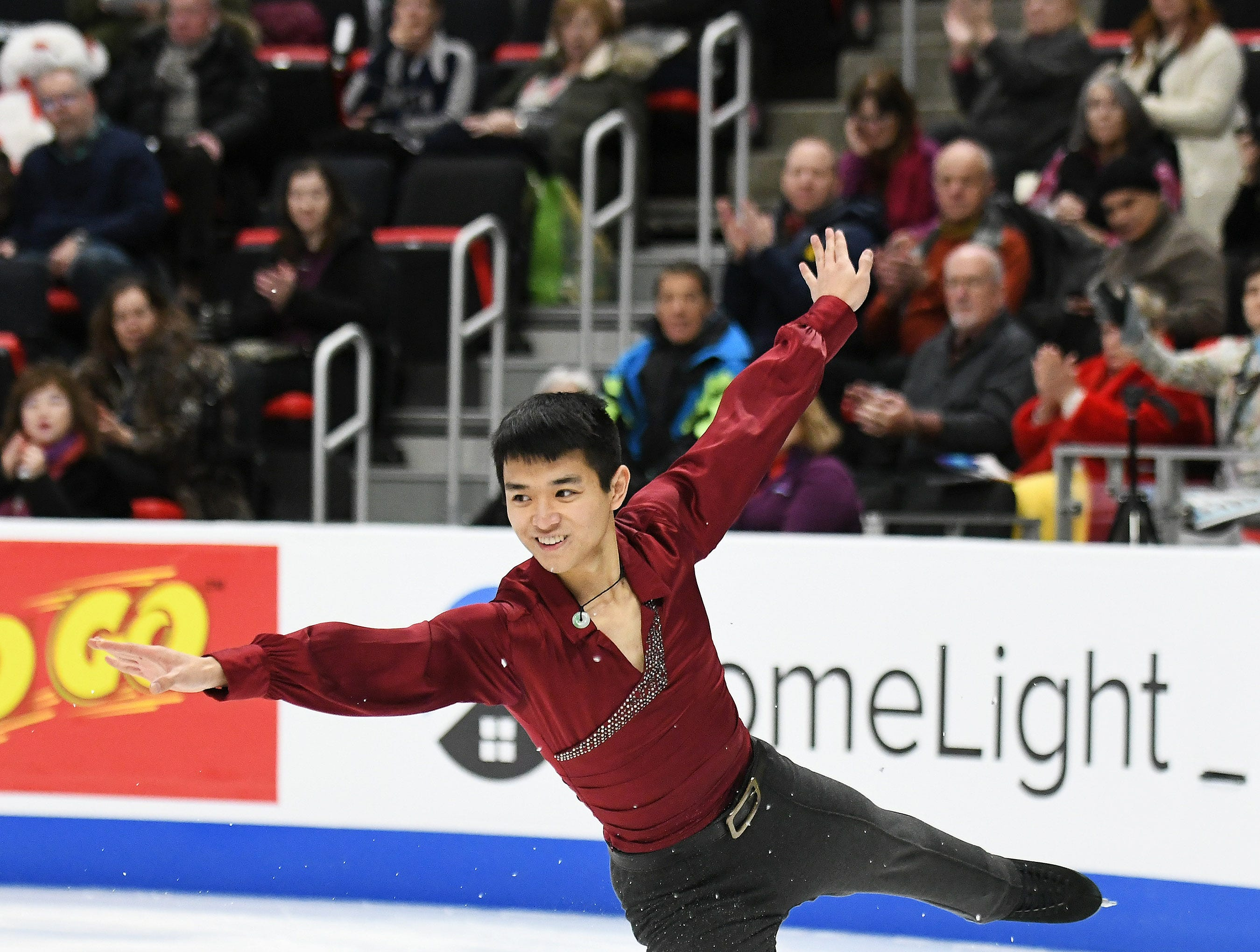 Andrew Shum skates in the men's free skate.