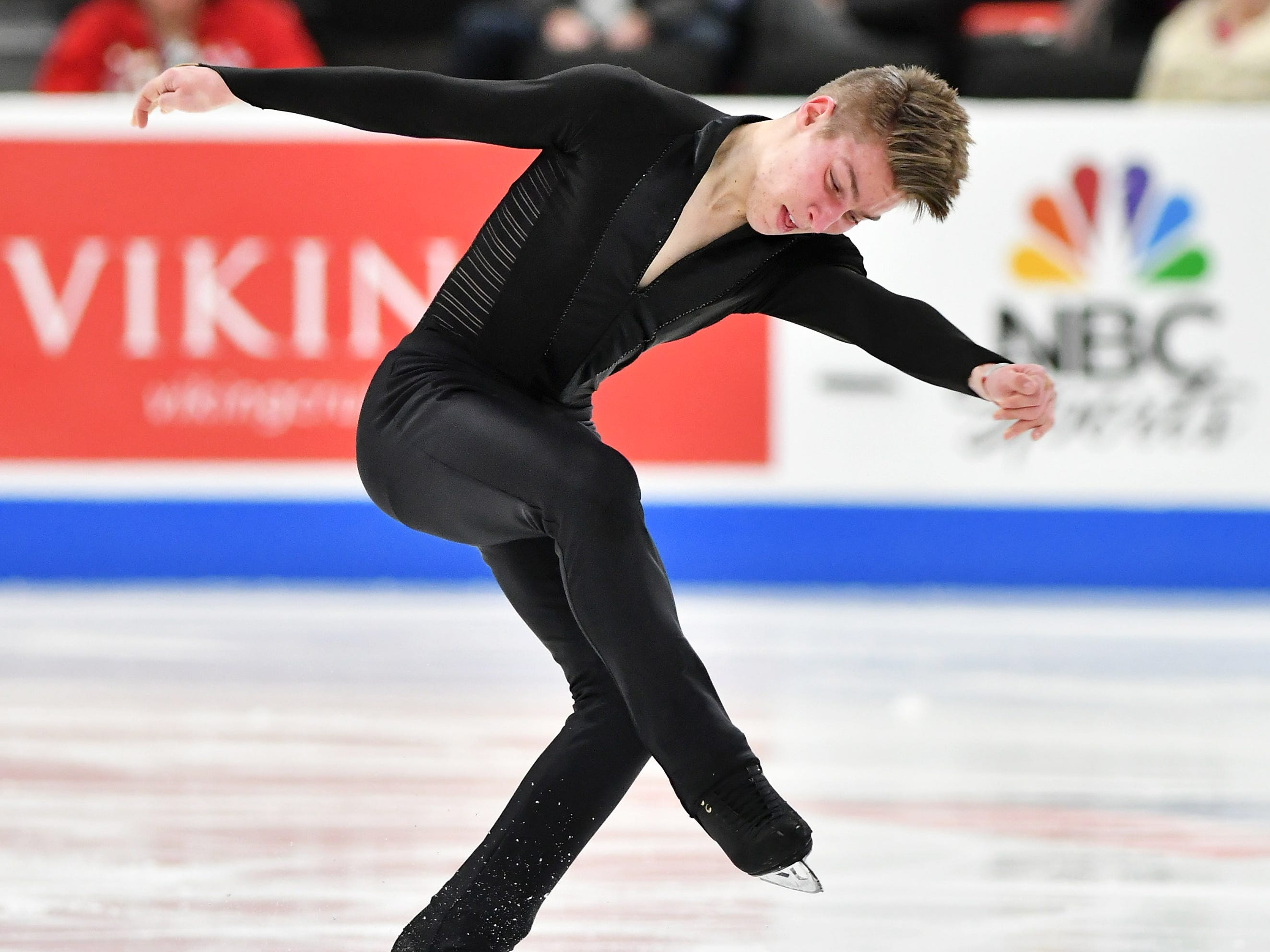 Andrew Torgashev skates in the men's free skate.