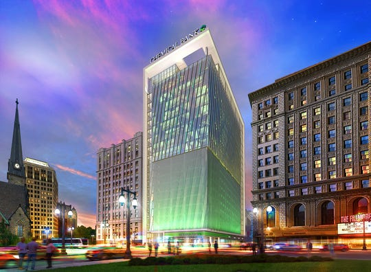 Chemical Financial will construct a 20-story headquarters at the corner of Woodward and Elizabeth.