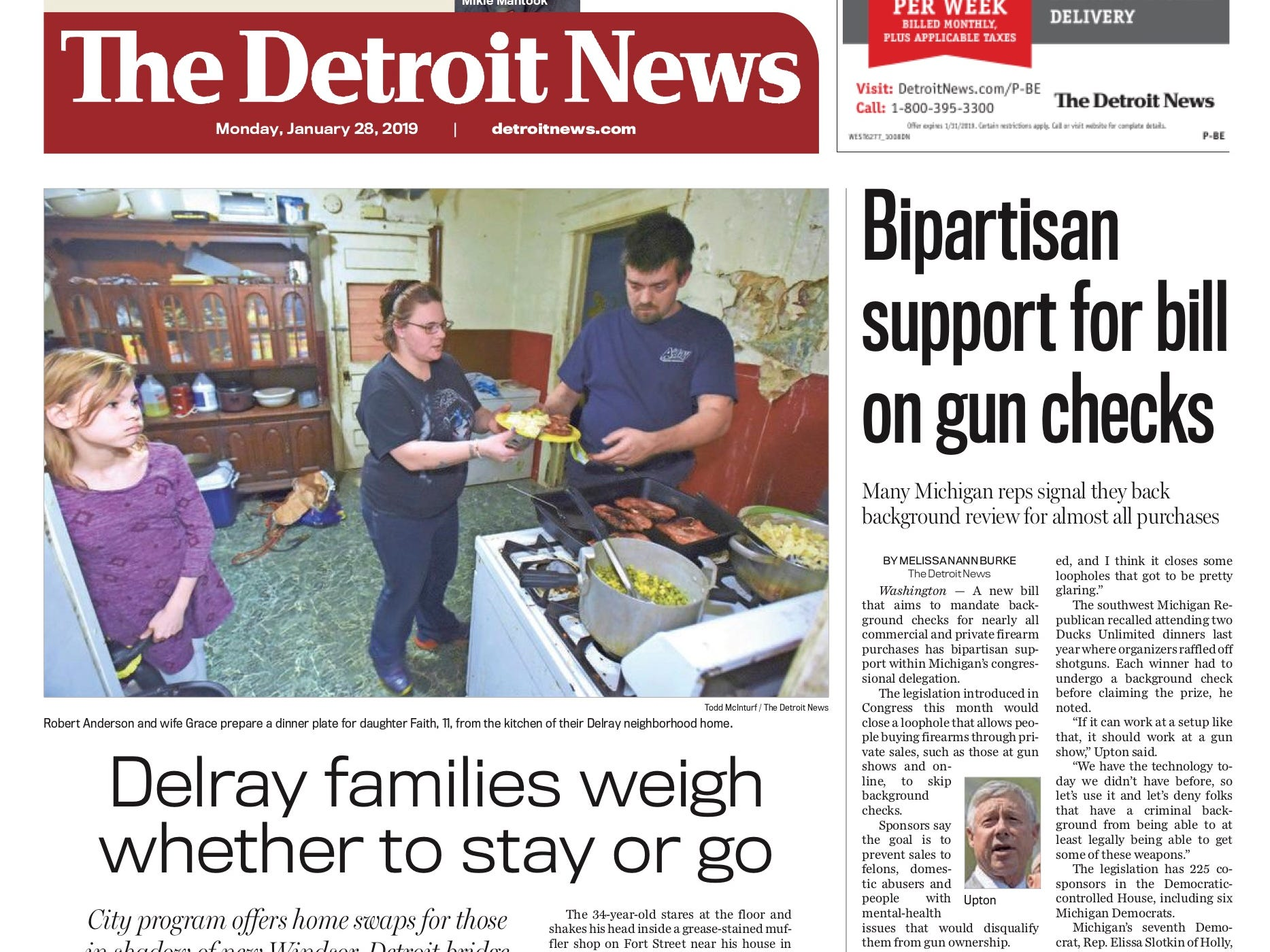 The front page of the Detroit News on January 28, 2019.