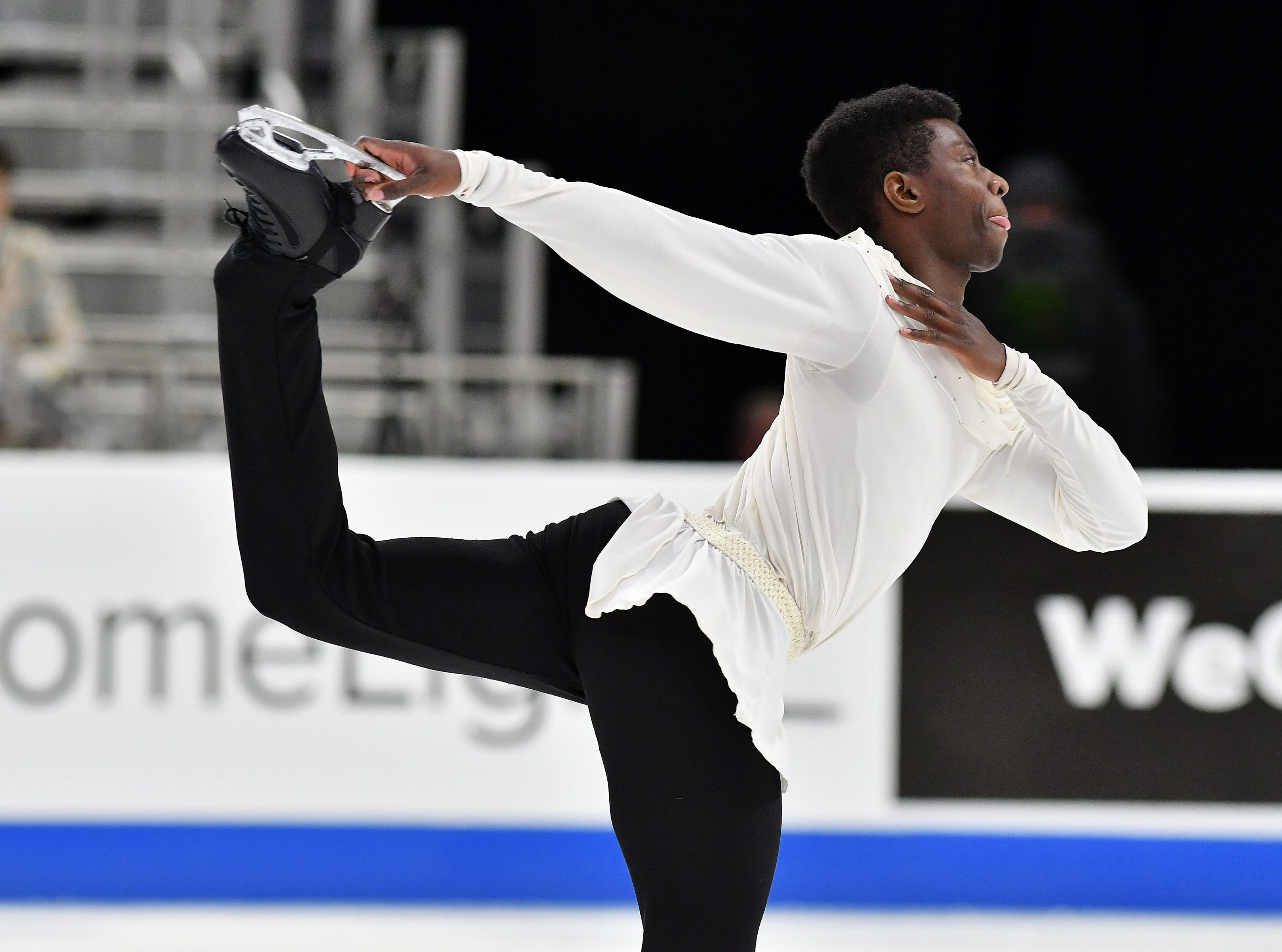 Emmanuel Savary skates in the men's free skate.