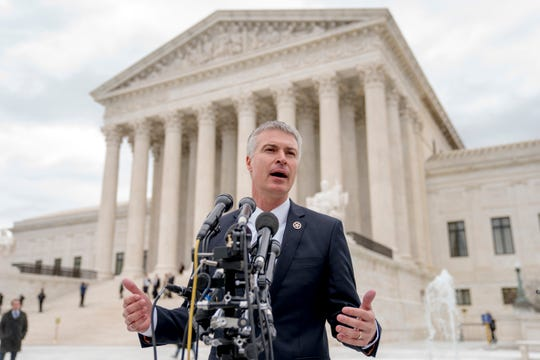 South Dakota Attorney General Marty Jackley speaks outside the Supreme Court after the court hears oral arguments on a case involving a rule stemming from two, decades-old Supreme Court cases on state's sales tax collection, Tuesday, April 17, 2018, in Washington. South Dakota v. Wayfair is a case arguing about whether a rule the Supreme Court announced decades ago in a case involving a catalog retailer should still apply in the age of the internet. (AP Photo/Andrew Harnik)