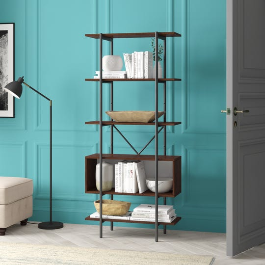 Book selections and displays add character to any home, even in a neutral hue like the ones shown on this bookcase from Wayfair.