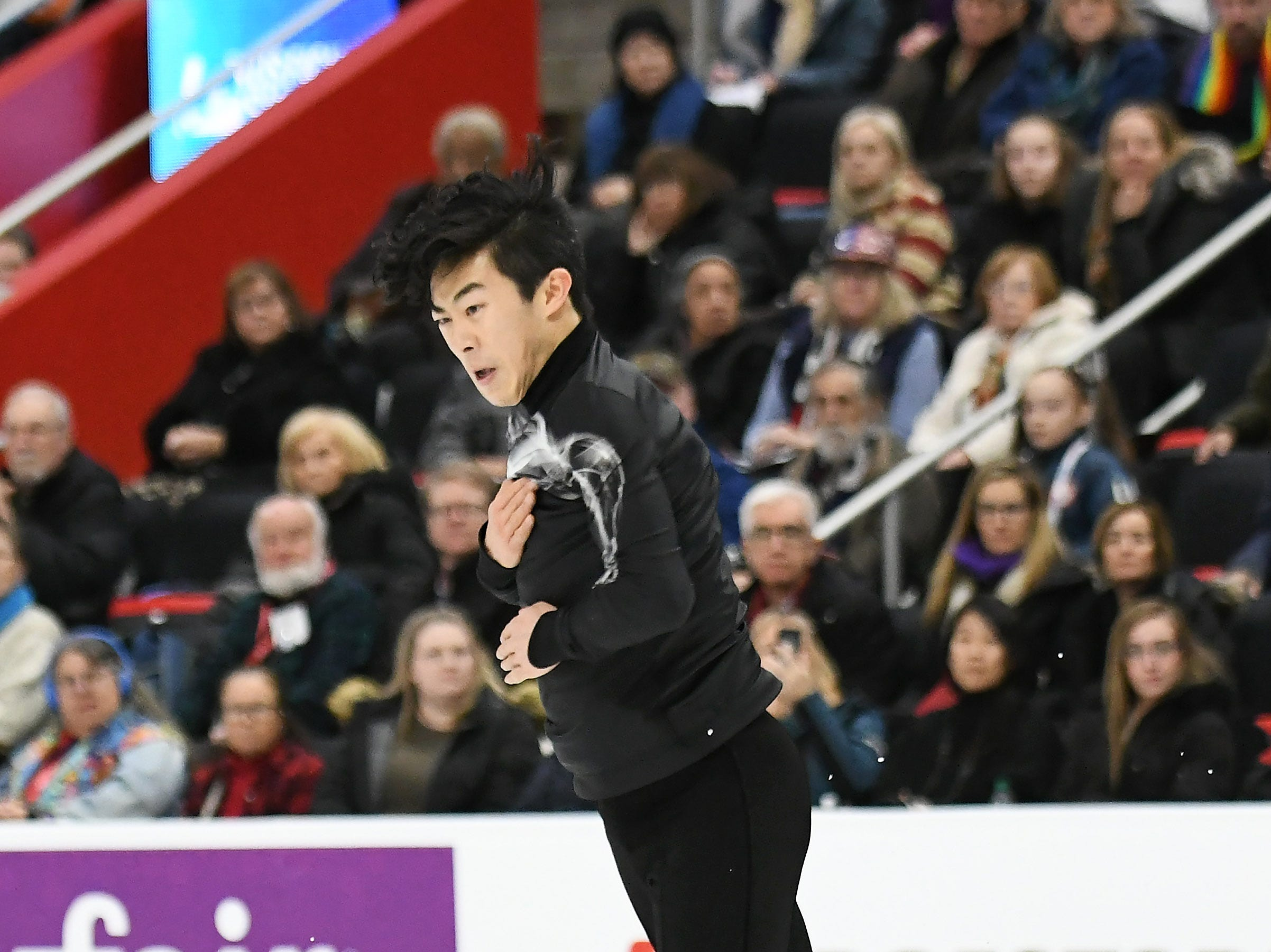 Nathan Chen skates in the men's free skate.