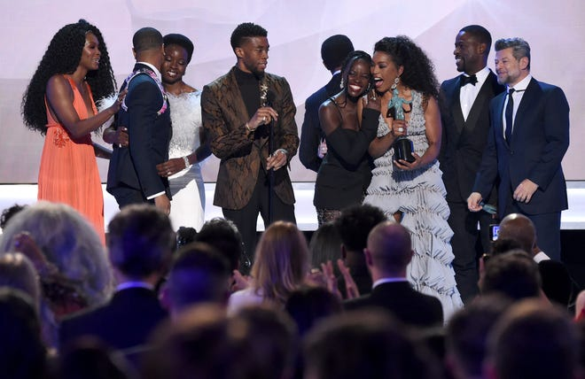 "The cast of ""Black Panther"" accepts the award for outstanding performance by a cast in a motion picture at the 25th annual Screen Actors Guild Awards."