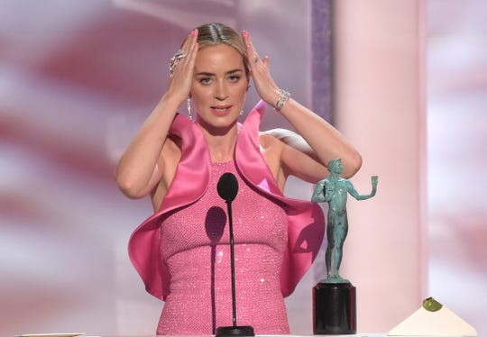 "Emily Blunt accepts the award for outstanding performance by a female actor in a supporting role for ""A Quiet Place"" at the 25th annual Screen Actors Guild Awards."