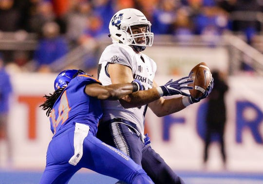 Utah State tight end Dax Raymond (87) had 27 catches for 345 yards and two touchdowns as a senior.