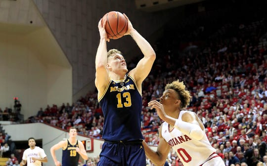 Ignas Brazdeikis of the Michigan Wolverines shoots the ball against the Indiana Hoosiers on Friday night.