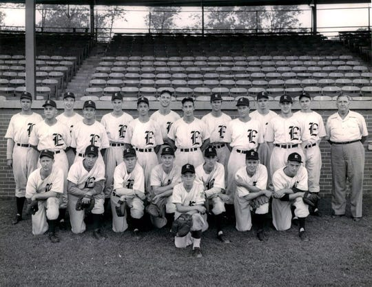 The 1946 Evansville Braves, winner of the Three-I League. In the back row, second from right, is Frank Schwitz, standing next to Bob Coleman, the team's president-manager.