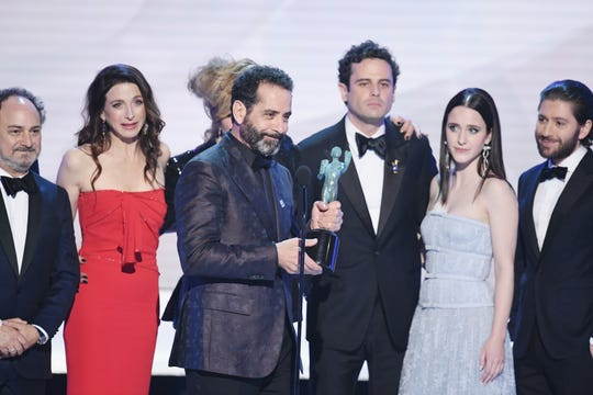 "The cast of ""The Marvelous Mrs. Maisel"" accepts Outstanding Performance by an Ensemble in a Comedy Series onstage during the 25th Annual Screen Actors Guild Awards on Sunday."