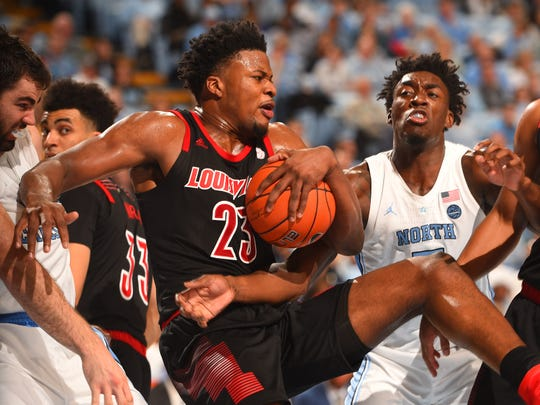 Surging Louisville faces North Carolina in a matchup of ACC contenders at 2 p.m. Saturday.