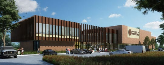An architectural rendering show the University of Providence's new University Center, now under construction and expected to open for the fall semester.