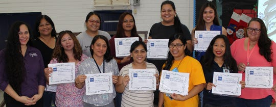 """Congratulations Juan M. Guerrero Elementary School teachers who were voted as favorites by their students through Sylvan Learning Center's """"My Favorite Teacher"""" online voting. Juan M. Guerrero Elementary School came in fourth place with the most student votes. Sylvan's Director, Crystal Nelson, presented each teacher with a certificate on Dec. 13. Top row from left:  Rosalind De Leon Guerrero, Darlene Vigil, Sirena Cruz, Janel Perez, and Maria Patricio. Bottom row from left: MaryAnn Kalgren, Gloria Mendoza, Maria Manlangit, Valene Salas, Marites Garcia, Heidi Cameron."""