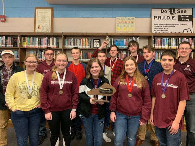 Henderson County High School's academic team won the District 9 tournament at Union County High School on Saturday, January 26. Pictured are, front row, from left: Abby Salisbury, Riley Lovell, Julianne Latimer, Maggie Privette and Andrew Russell. Back row, from left: Luke Payne, Wil Kyle, Josh Freeman, Harrison Jenkins, Alex Chandler, Logain North, DJ Banks, and Coach Brian Sullivan.