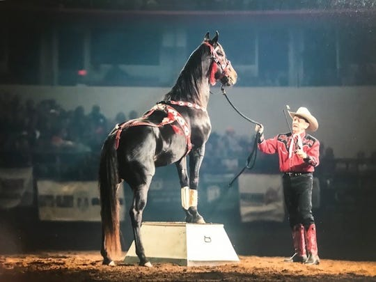 """Mr. Bojangles was """"pitiful"""" when Jerry Thornton rescued the horse after Hurricane Katrina. Tied up by wire, he had been standing in water for three weeks when he was found."""