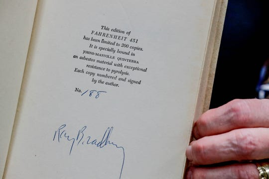 "More than 100 copies of the 1953 first edition of ""Farenheight 451"" had asbestos binding inside The Center for Ray Bradbury Studies, located in Cavanaugh Hall on the IUPUI campus."