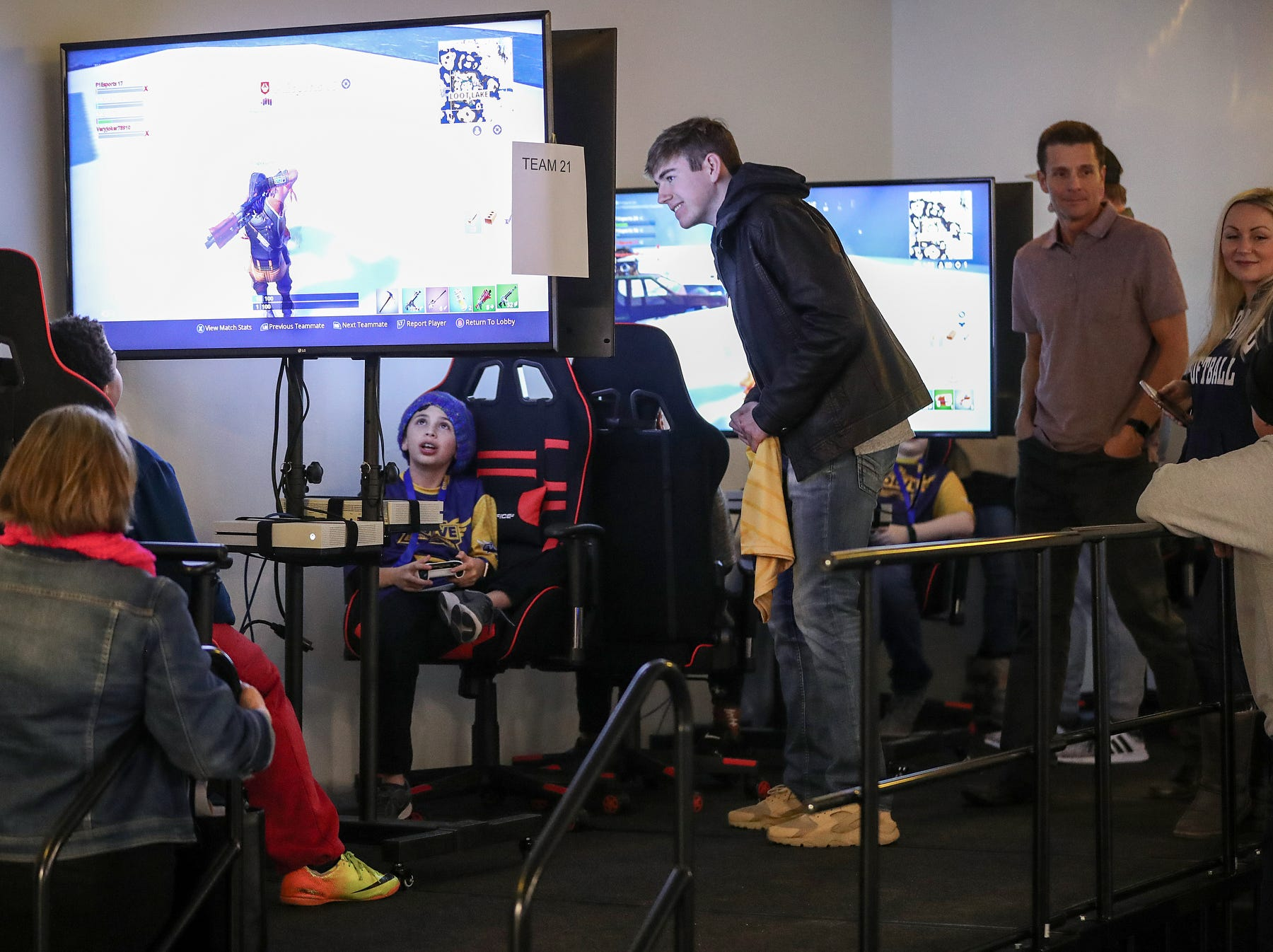 Player One arena, where practices for Evolve Youth Esports will take place in Carmel, Ind., Thursday, Jan. 24, 2019. Scott Wise, original founder of Scotty's Brewhouse, has partnered with Player One Esports for his next venture, a video game sports league that has attracted around 200 kids so far.
