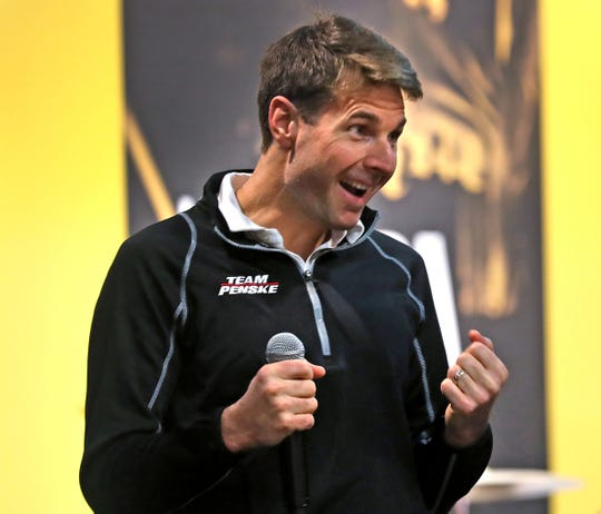IndyCar driver and Indy 500's 2018 winner Will Power gets ready to unveil the 2019 Indy 500 ticket at Rhythm! Discovery Center, Monday, Jan. 28, 2019.