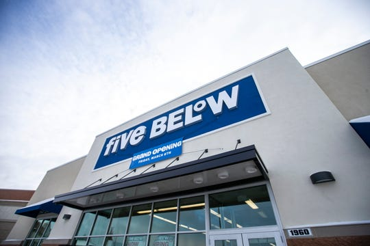 """Five Below is seen on Monday, Jan. 28, 2019, at the Coral Ridge Mall in Coralville, Iowa. The discount store's website says, """"everything, every day, is just $5 and below."""""""